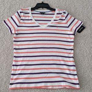 💘Purple and orange striped V-Neck T-Shirts